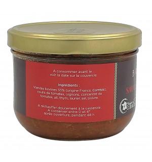 Ingrédients bocal de sauce bolognaise pur bœuf maison