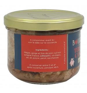 Ingrédients bocal de terrine de campagne de porc cul noir