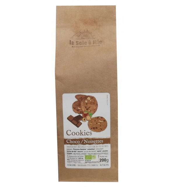 Cookies choco/noisettes Bio cuits au feu de bois